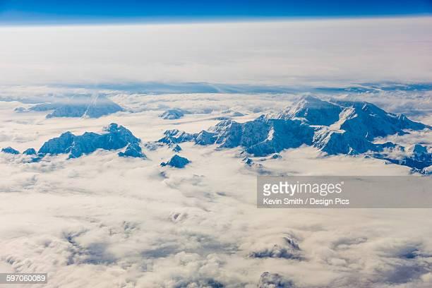 Aerial view of snowcovered Mt. McKinleys northwest buttress, Interior Alaska, Winter, USA