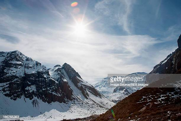 aerial view of snowy mountains - valley stock pictures, royalty-free photos & images