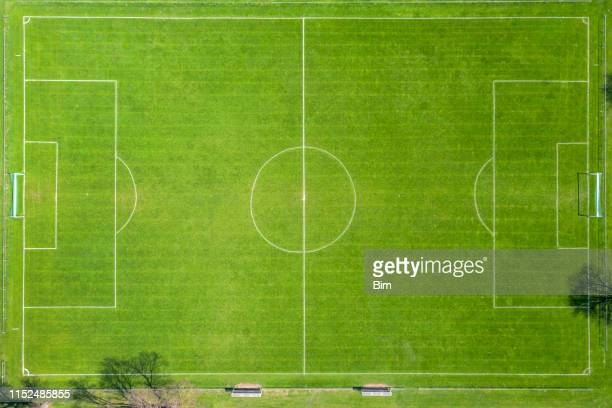 aerial view of soccer field - high up stock pictures, royalty-free photos & images