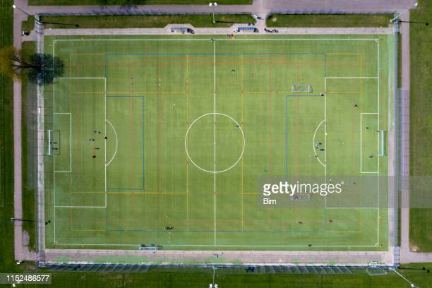 aerial view of soccer field - kick line stock photos and pictures