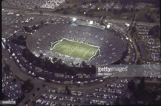 Aerial view of soccer game at the Rose Bowl during the Summer Olympics