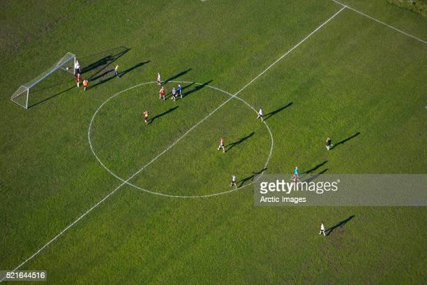 Aerial View of Soccer Game in Reykjavik