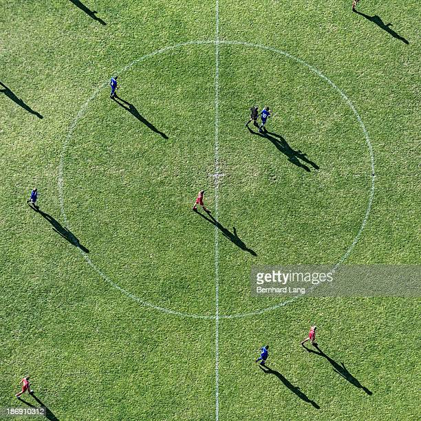 Aerial view of soccer pitch circle