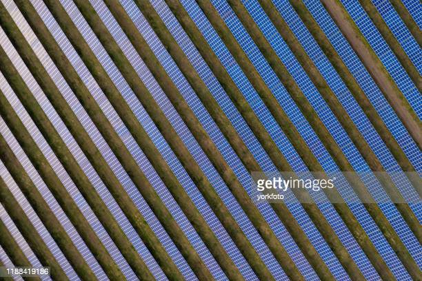 aerial view of solar panels - aerial view stock pictures, royalty-free photos & images