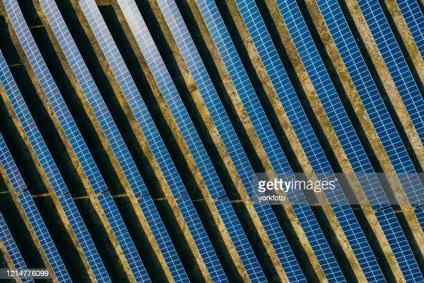 aerial view of solar panels - solar powered station stock pictures, royalty-free photos & images