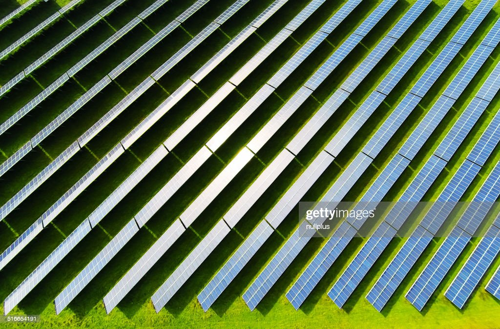 aerial view of solar power station : Stock Photo