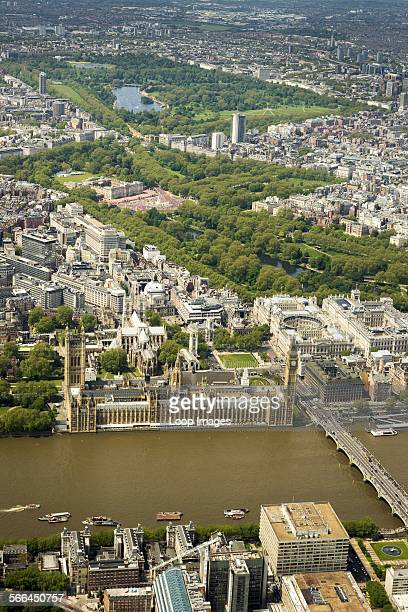Aerial view of some of the major London landmarks.