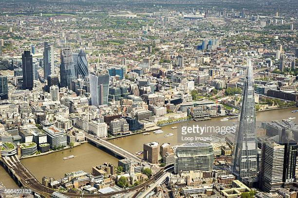 Aerial view of some of the major London landmarks