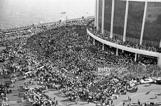 Aerial view of some of the more than 100,000 people demonstrating in protest of racial discrimination, jam Woodward Avenue, from curb to curb in a...
