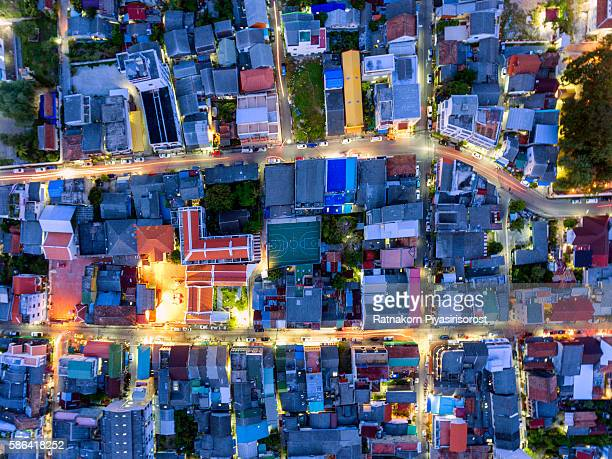 aerial view of songkhla old town - provincia di songkhla foto e immagini stock