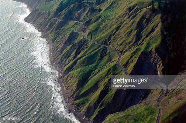 Aerial view of Sonoma Country Coast Line, a rugged coastal park with sandy beaches and picturesque headlands located in CA, United States, circa...