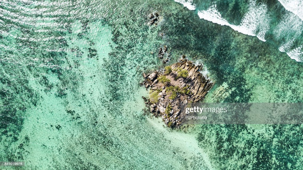 Aerial view of Souris Island -  Anse Royale - Mahe Island - Seychelles : Stock Photo