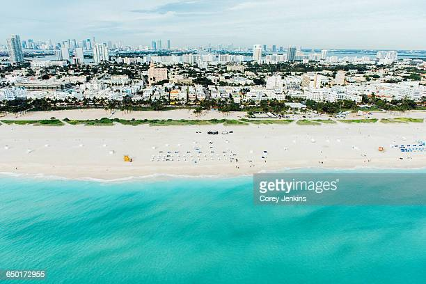 aerial view of south beach and cityscape, miami, florida, usa - miami beach stock photos and pictures