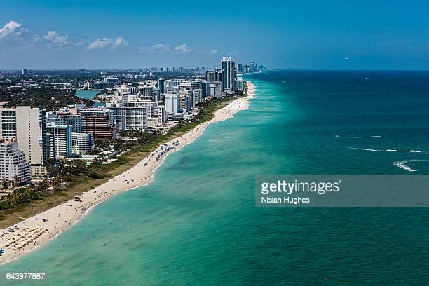 aerial view of south beach miami florida cityscape - miami foto e immagini stock