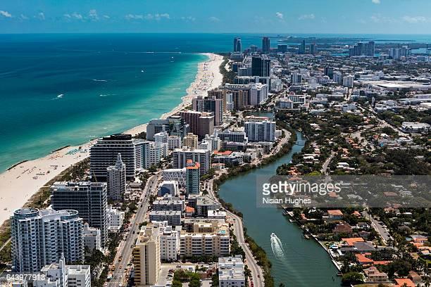 aerial view of south beach miami florida cityscape - miami imagens e fotografias de stock