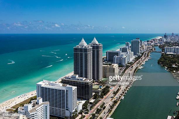 aerial view of south beach miami florida - south beach stock pictures, royalty-free photos & images