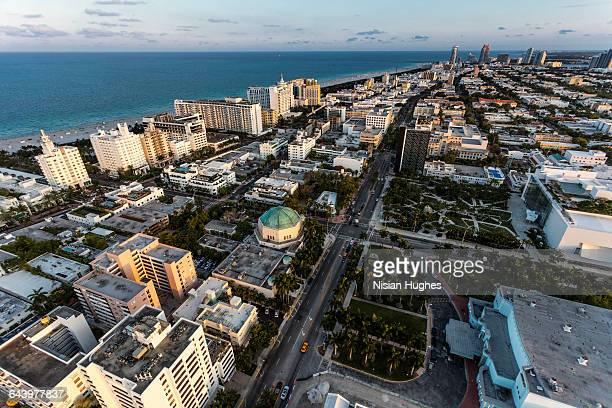 aerial view of south beach miami, sunset - image title stock pictures, royalty-free photos & images