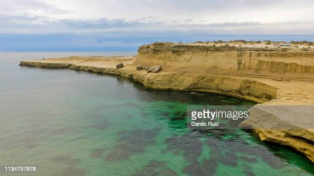 aerial view of south coast of chile on the border with argentina - sandstone stock photos and pictures
