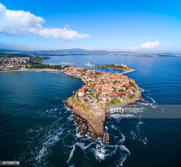 aerial view of  sozopol, bulgaria - bulgaria stock pictures, royalty-free photos & images