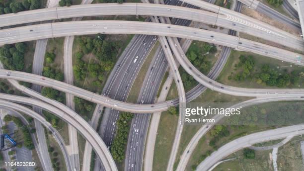 aerial view of spaghetti junction in atlanta, ga - atlanta georgia stock pictures, royalty-free photos & images