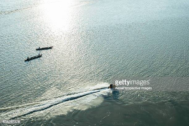 Aerial View of Speedboat in motion
