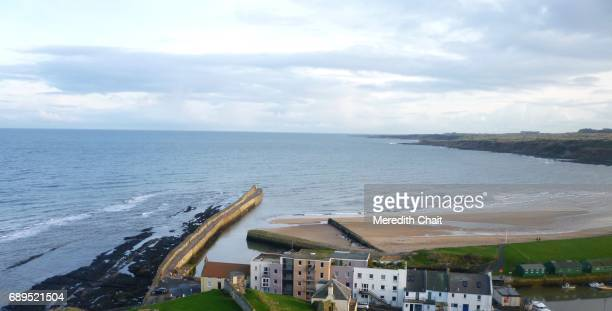 aerial view of st. andrews pier and bay - st. andrews scotland stock pictures, royalty-free photos & images