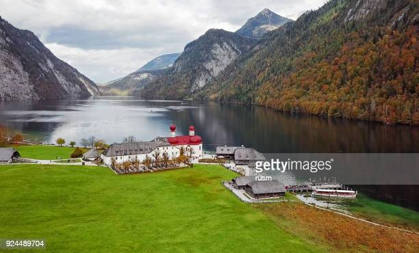 Aerial view of St. Bartholomew's Pilgrimage church on Konigsee, Berchtesgaden, Germany