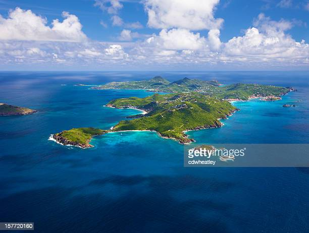 aerial view of st. barths, french west indies - island stock pictures, royalty-free photos & images