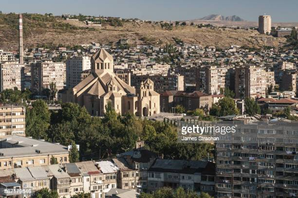aerial view of st gregory the illuminator cathedral (opened 2001 to celeberate 1700 years' of christianity in armenia), yerevan, armenia - エレバン ストックフォトと画像