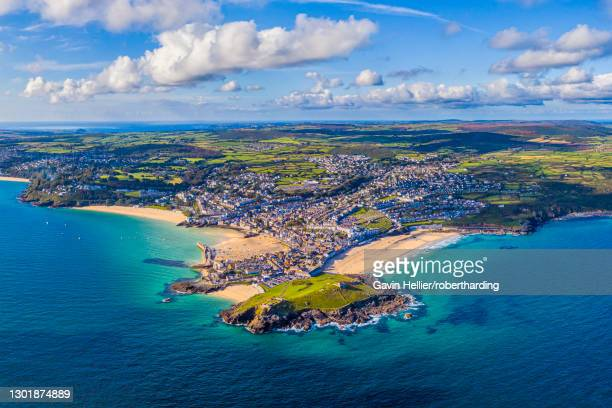 aerial view of st. ives, cornwall, england, united kingdom, europe - gavin hellier stock pictures, royalty-free photos & images