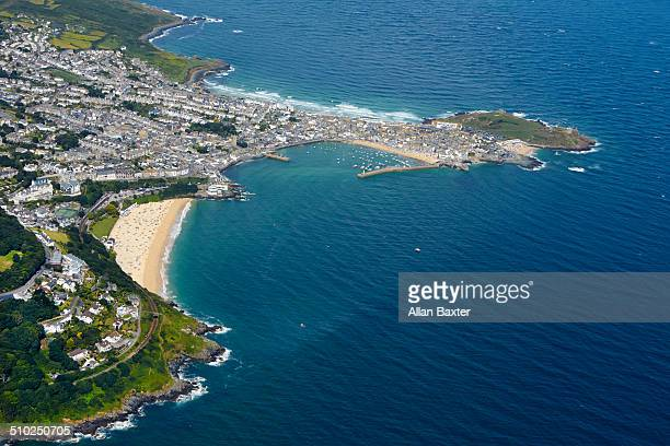 aerial view of st ives in cornwall - st. ives cornwall stock pictures, royalty-free photos & images