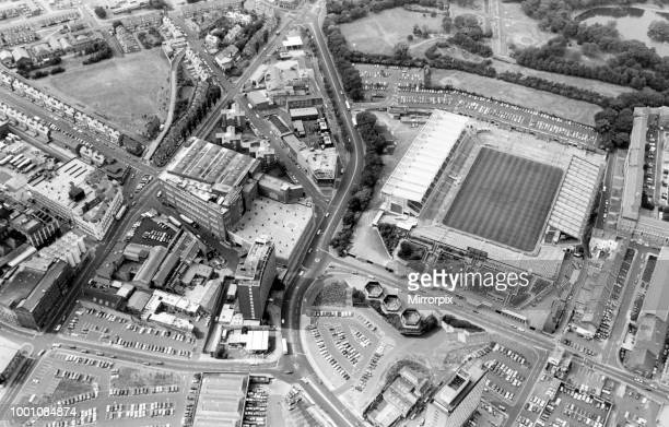 Aerial view of St James' Park football stadium in Newcastle upon Tyne, the home of Newcastle United FC, 4th April 1989.