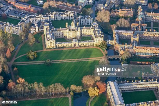 CAMBRIDGE ENGLAND NOVEMBER 18 Aerial view of St John's College part of Cambridge University on November 18 2008 Founded in 1511 by Lady Margaret...