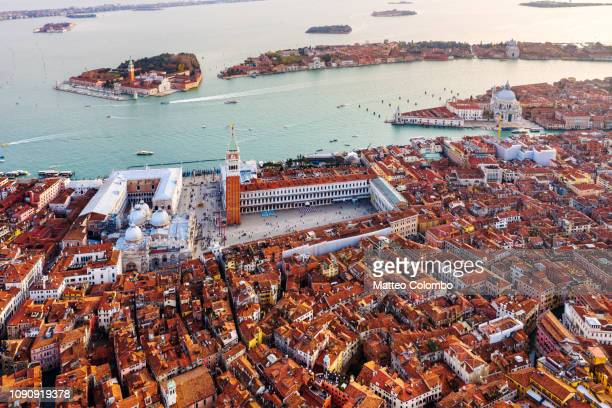 aerial view of st mark's square and city of venice - veneto stock pictures, royalty-free photos & images