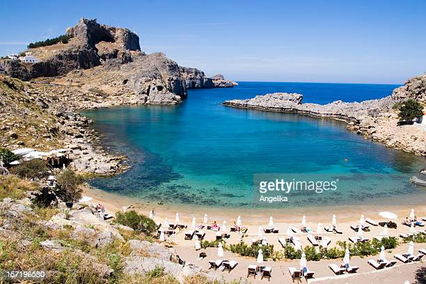 aerial view of st. paul's bay in malta - lindos stock photos and pictures