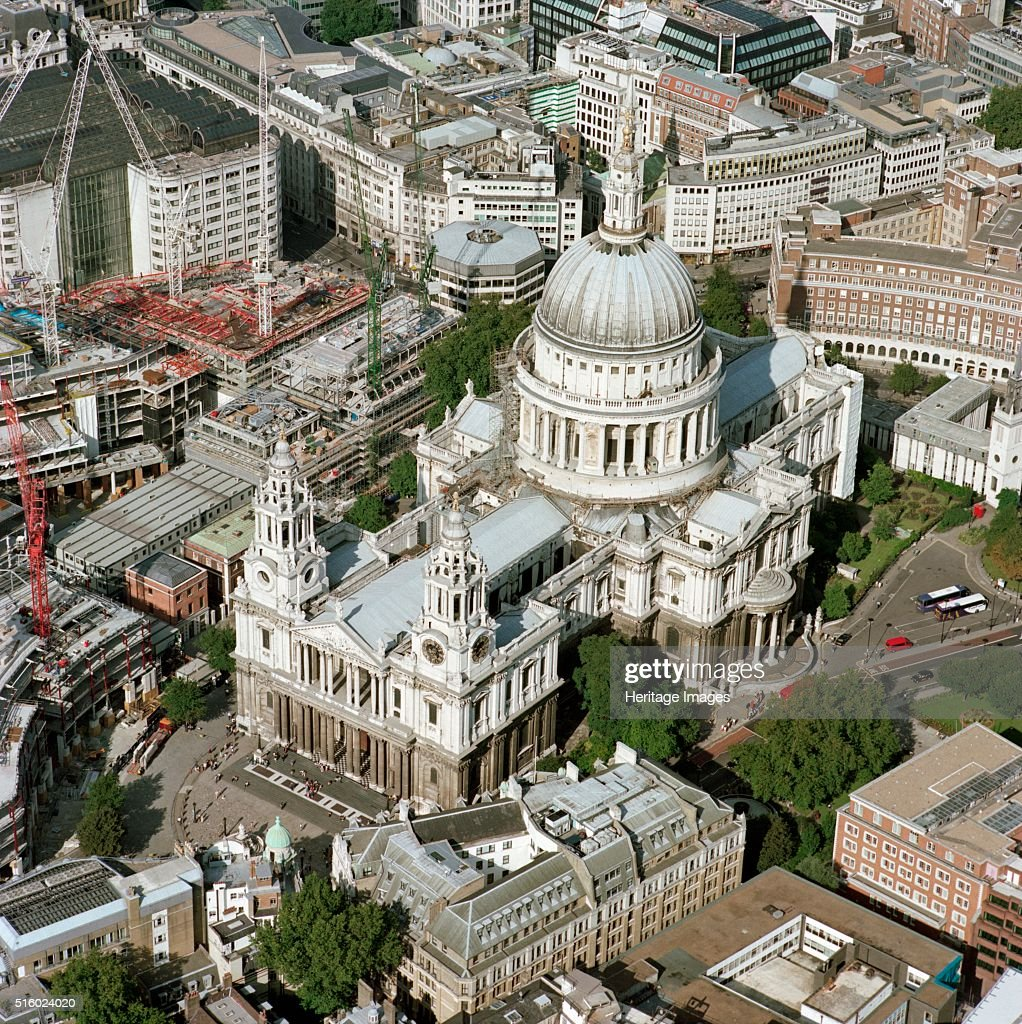 Aerial view of St Paul's Cathedral, City of London, c2000s(?) : News Photo