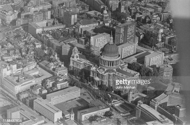Aerial view of St Paul's Cathedral in the City of London London UK 24th August 1976