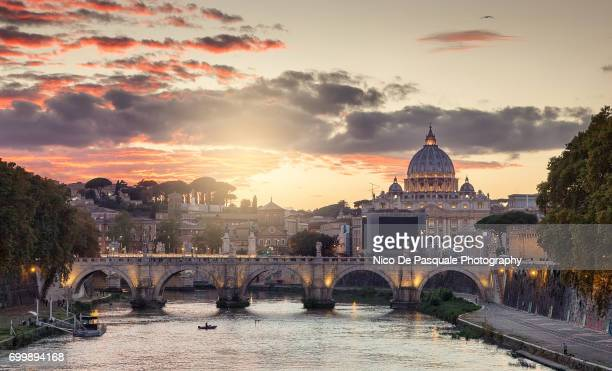 Aerial view of St Peter at sunset