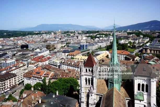 Aerial View of St. Peter Cathedral in Geneva, Switzerland
