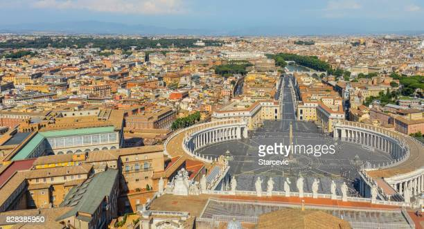aerial view of st. peters square in the vatican - basilica stock pictures, royalty-free photos & images
