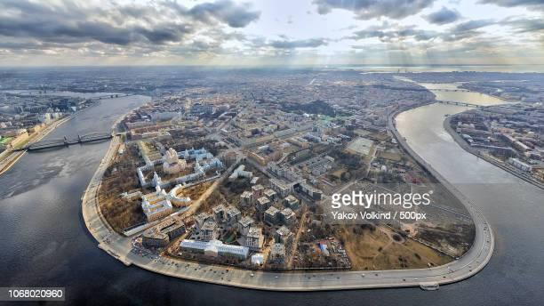 aerial view of st. petersburg - sankt petersburg stock-fotos und bilder