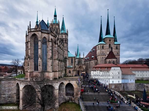 aerial view of st. severus church and cathedral of erfurt, thuringia, germany - erfurt stock-fotos und bilder