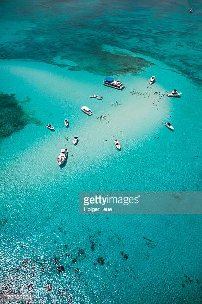 Aerial view of Stingray City sand bank