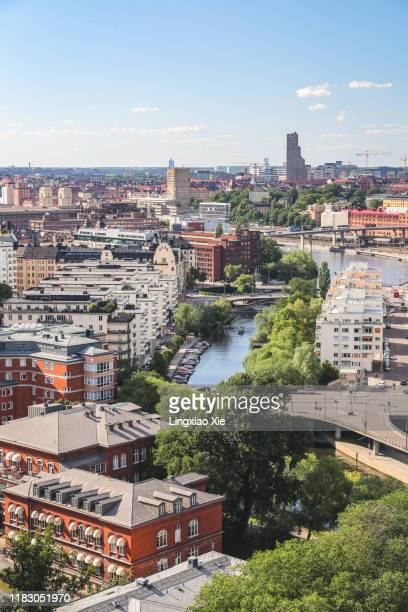 aerial view of stockholm city skyline of kungsholmen, norrmalm and klara sjö canal, sweden - stockholm cathedral stock pictures, royalty-free photos & images