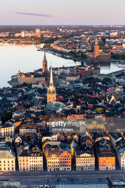 aerial view of stockholm old town, sweden - stockholm stock pictures, royalty-free photos & images