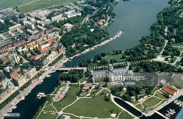 Aerial view of Stockholm with Gothic Palace on the island of Djurgarden - Sweden