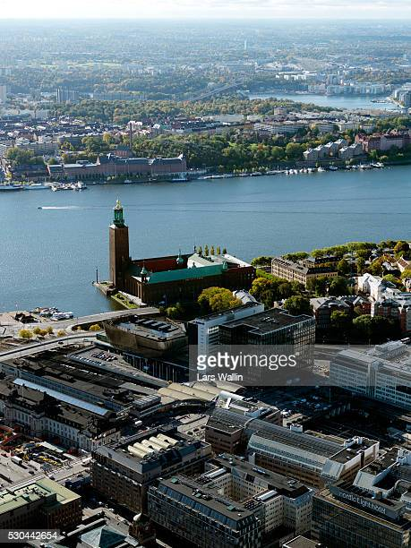 Aerial view of Stockholm with Stockholm City Hall, Sweden