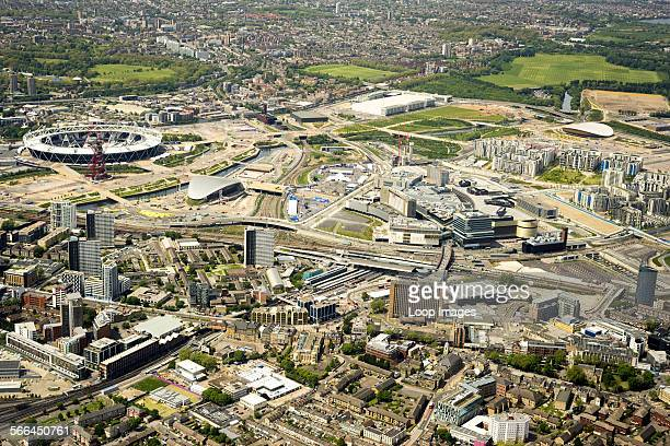 Aerial view of Stratford and Queen Elizabeth Olympic Park