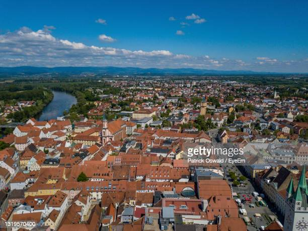 aerial view of straubing, bavaria - straubing stock pictures, royalty-free photos & images