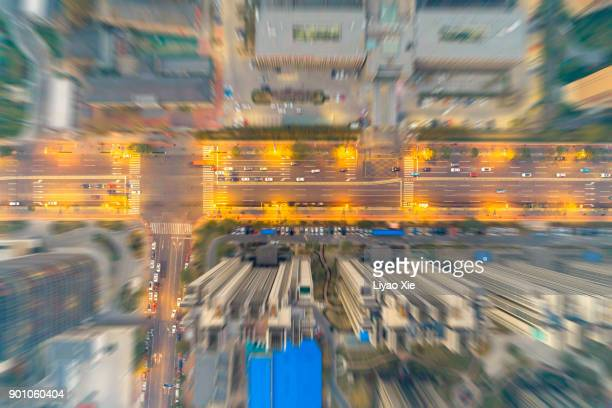 aerial view of street - liyao xie stock pictures, royalty-free photos & images